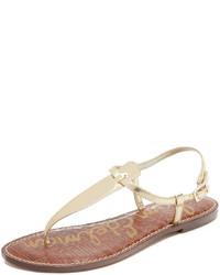 Sandalias de dedo de cuero marrón claro de Sam Edelman