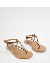 Sandalias de dedo de cuero marrónes de ASOS DESIGN