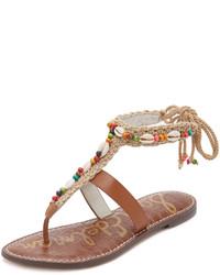 Sandalias de dedo de cuero marrónes de Sam Edelman