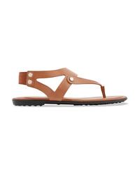 Sandalias de dedo de cuero marrónes de Tod's