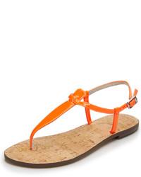 Sandalias de dedo de cuero naranjas de Sam Edelman