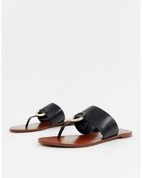 Sandalias de dedo de cuero negras de Aldo