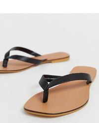 Sandalias de dedo de cuero negras de ASOS DESIGN