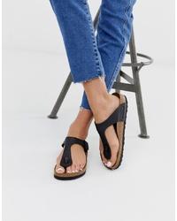 Sandalias de dedo de cuero negras de Birkenstock