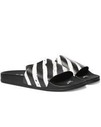 Sandalias de goma de rayas horizontales en blanco y negro de Off-White