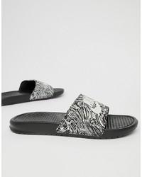 Sandalias de goma estampadas negras de Nike