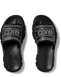 Sandalias de goma negras de Gucci