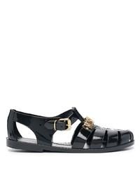 Sandalias de goma negras de Moschino