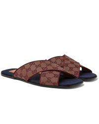 Sandalias de lona burdeos de Gucci