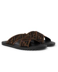 Sandalias de lona estampadas en marrón oscuro de Fendi