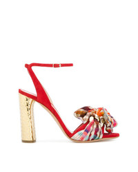 Sandalias de tacón de ante a cuadros rojas de Casadei