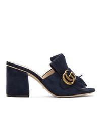 Sandalias de tacón de ante azul marino de Gucci