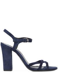 Sandalias de tacón de ante azul marino de Jil Sander