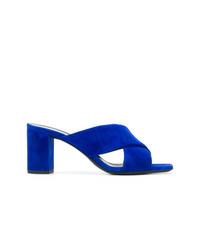 Sandalias de Tacón de Ante Azules de Saint Laurent