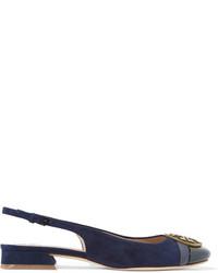 Sandalias de tacón de ante con adornos azul marino de Tory Burch