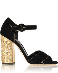 Sandalias de tacón de ante con adornos en negro y dorado de Dolce & Gabbana