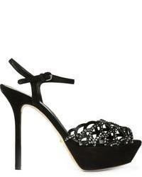 Sandalias de tacón de ante con adornos negras