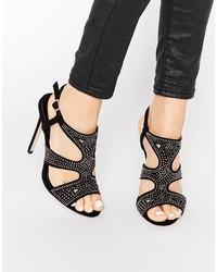 Sandalias de tacón de ante con adornos negras de Asos
