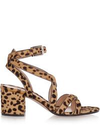 Sandalias de tacón de ante de leopardo marrónes de Gianvito Rossi