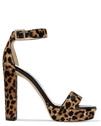 Sandalias de tacón de ante de leopardo marrónes de Jimmy Choo