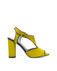Sandalias de tacón de ante en amarillo verdoso