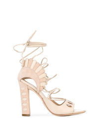 Sandalias de tacón de ante en beige de Paula Cademartori