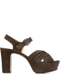 Sandalias de tacón de ante en gris oscuro