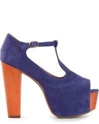 Sandalias de tacón de ante en violeta