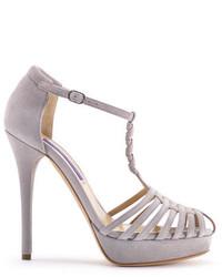 Sandalias de tacón de ante grises