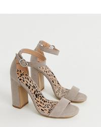 Sandalias de tacón de ante grises de New Look