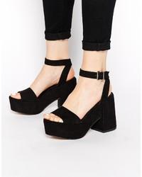 Sandalias de tacón de ante gruesas negras de Asos