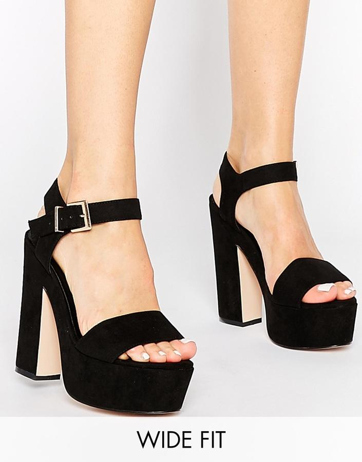04f83bb2894 ... Sandalias de tacón de ante gruesas negras de Asos ...