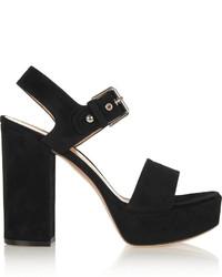 Sandalias de tacón de ante gruesas negras de Gianvito Rossi