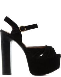 Sandalias de tacón de ante gruesas negras de Jeffrey Campbell