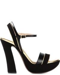 Sandalias de tacón de ante gruesas negras de L'Autre Chose