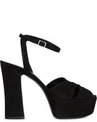 Sandalias de tacón de ante gruesas negras de Saint Laurent