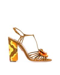 Sandalias de tacón de ante marrónes de Aquazzura
