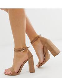Sandalias de tacón de ante marrónes de ASOS DESIGN
