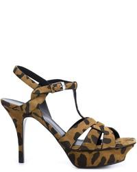 Sandalias de tacón de ante marrónes de Saint Laurent