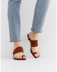 Sandalias de tacón de ante marrónes de Vagabond