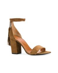 Sandalias de tacón de ante marrónes de Via Roma 15