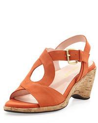 Sandalias de Tacón de Ante Naranjas