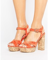 Sandalias de Tacón de Ante Naranjas de Faith