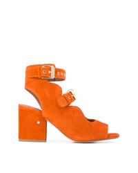 Sandalias de Tacón de Ante Naranjas de Laurence Dacade