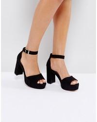 Sandalias de tacón de ante negras de ASOS DESIGN