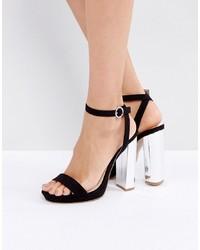 Sandalias de tacón de ante negras de Coco Wren