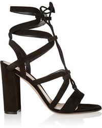 Sandalias de tacón de ante negras de Gianvito Rossi