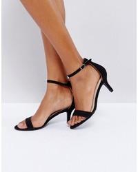 Sandalias de tacón de ante negras de Glamorous
