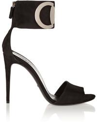 Sandalias de tacón de ante negras de Gucci