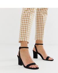 Sandalias de tacón de ante negras de Mango